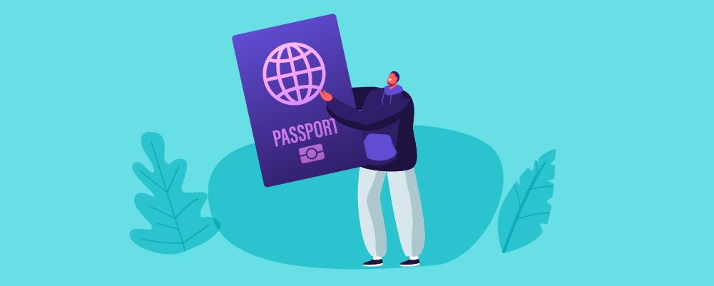 A man Holding his Passport